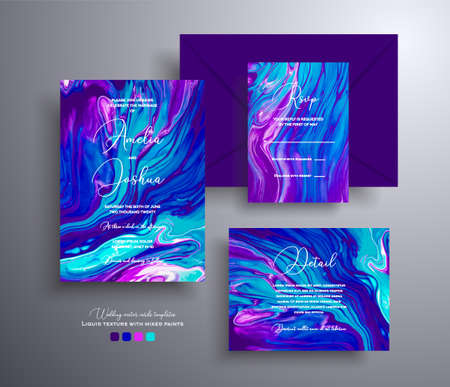 Set of acrylic wedding invitations with stone pattern. Mineral vector cards with marble effect and swirling paints, purple, blue and turquoise colors. Designed for posters, brochures and etc