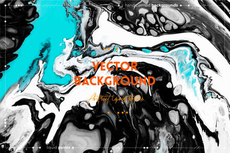 Fluid art texture. Backdrop with abstract swirling paint effect. Liquid acrylic artwork with flows and splashes. Mixed paints for baner or wallpaper. Black, white and blue overflowing colors. Illusztráció