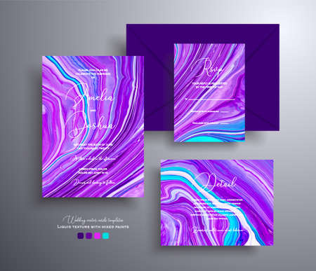 Modern set of wedding invitations with stone texture. Agate vector covers with marble effect and place for text, purple, lilac and turquoise colors. Designed for greeting cards, packaging and etc. Illusztráció