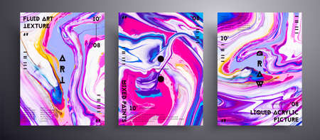 Abstract vector banner, texture set of fluid art covers. Trendy background that can be used for design cover, invitation, flyer and etc. Pink, lavender, yellow and white creative iridescent artwork.