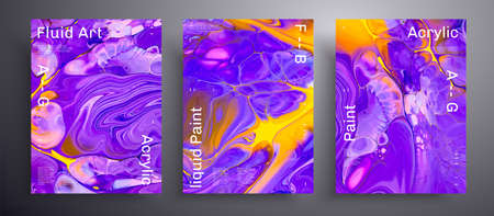 Abstract liquid placard, fluid art vector texture pack. Trendy background that can be used for design cover, poster, brochure and etc. Blue, yellow and purple creative iridescent artwork.