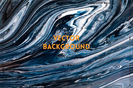 Fluid art texture. Abstract backdrop with swirling paint effect. Liquid acrylic picture with flows and splashes. Mixed paints for interior poster. Black, navy blue and white overflowing colors.