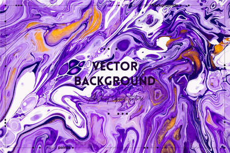 Fluid art texture. Abstract background with mixing paint effect. Liquid acrylic picture that flows and splashes. Mixed paints for background or poster. Violet, white and golden overflowing colors.