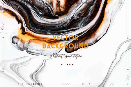 Fluid art texture. Abstract backdrop with iridescent paint effect. Liquid acrylic picture with flows and splashes. Mixed paints for baner or wallpaper. Golden, brown and white overflowing colors. Illusztráció