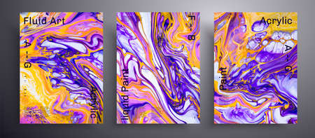Abstract vector placard, texture pack of fluid art covers. Trendy background that applicable for design cover, poster, brochure and etc. Blue, pink, yellow and white creative iridescent artwork.