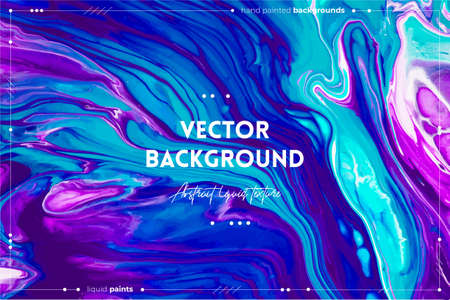 Fluid art texture. Backdrop with abstract iridescent paint effect. Liquid acrylic picture with flows and splashes. Mixed paints for website background. Blue, purple and turquoise overflowing colors.