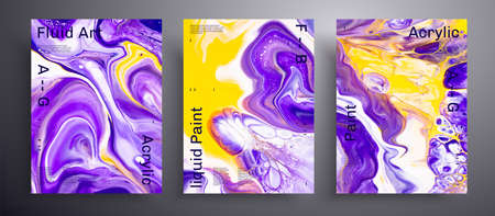 Abstract acrylic poster, fluid art vector texture pack. Artistic background that can be used for design cover, invitation, flyer and etc. Purple, yellow and white unusual creative surface template.