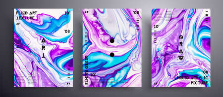 Abstract acrylic placard, fluid art vector texture collection. Trendy background that can be used for design cover, poster, brochure and etc. Purple, turquoise and white creative iridescent artwork. Illusztráció