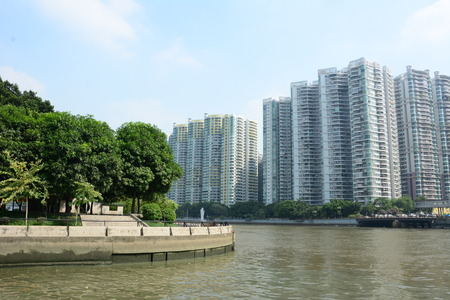 sha: Guangzhou Sha River Riverside building Stock Photo