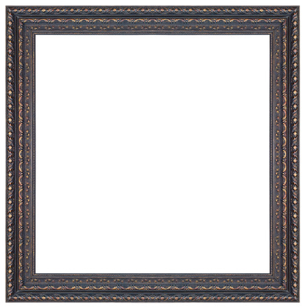 Old antique black and gold square frame isolated decorative carved wood stand antique black and gold square frame isolated on white background Stock Photo