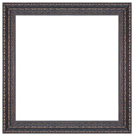 Oude antieke zwarte en gouden vierkante frame geïsoleerd decoratieve houtsnijwerk staan antieke zwarte en gouden vierkante frame geïsoleerd op een witte achtergrond Stockfoto