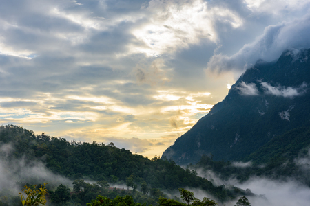 newfound gap: Sunset at the Newfound Gap in the Great Smoky Mountains, Peak of Doi Luang Chiang Dao montains is a 2,175 m high mountain in Chiang Mai Province, Thailand Stock Photo