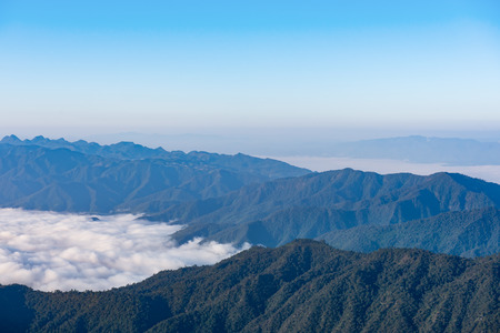 scenic view: mountains under mist in the morning, Landscape mountains with fog