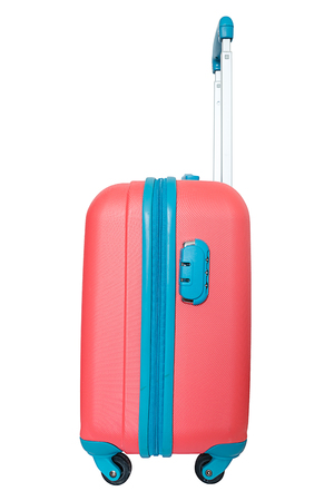 trolley case: Orange travel plastic suitcase with wheels realistic on white background Stock Photo