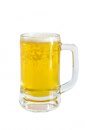un bottled: Frosty glass of light beer on a white background Stock Photo