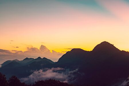 great smoky mountains: Sunset with great smoky mountains, sunset with layers of mountain background, chiang mai, thailand
