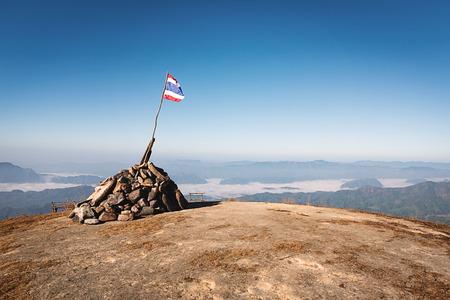 thai flag: Thai flag on the top of the hill at Doi Tu Lay (Mon Tu Lay) , Tak province Thailand Stock Photo
