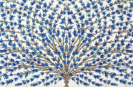 Old indigo blue tiles tloor ornament