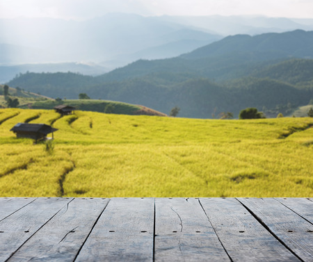 advertise: empty rustic wooden table and rice field blurred background, for product display