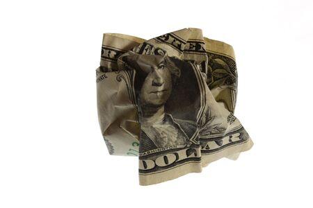 dinero falso: El arrugadas Dollar simboliza las dificultades financieras.