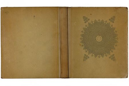 Opened old book cover isolated on a white background photo
