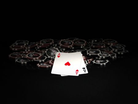 poker chip: Black and red poker chips and cards isolated on black background Stock Photo
