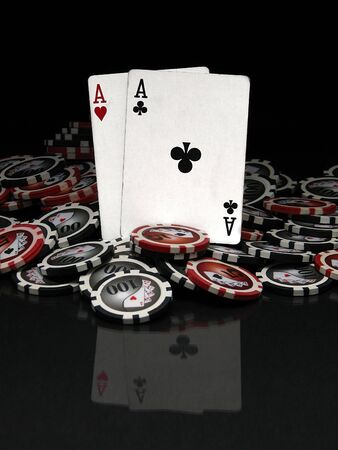 poker chip: Poker chips and cards Stock Photo
