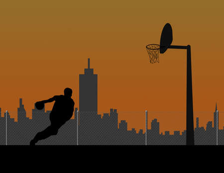 outdoor basketball court: Basketball player silhouette