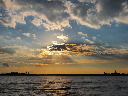 Manhattan downtown riverside at sunset,New York