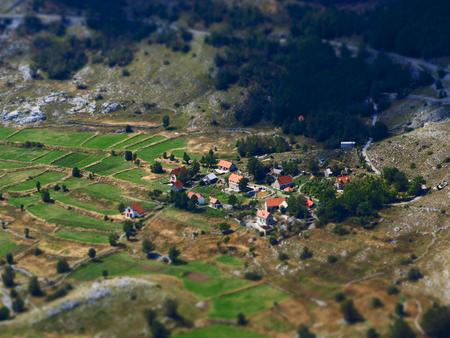 overlook: Small village overlook, perspective, Montenegro
