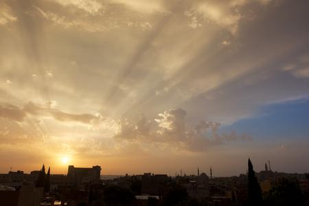 Sunrise lights like holy light, Madaba ,Jordan, Stock Photo