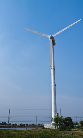 Horizontal-axis wind turbine generated electricity photo
