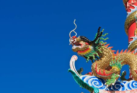 Chinese dragon head on blue sky background photo