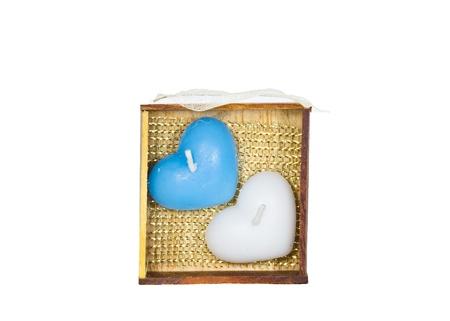 bougie coeur: Bougie cardiaque jumeaux dans la bo�te