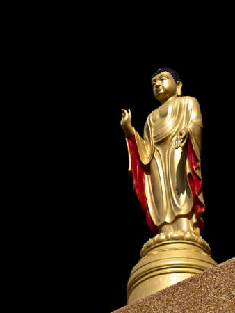 chinese buddha: Chinese Buddha Statue on Black background Stock Photo