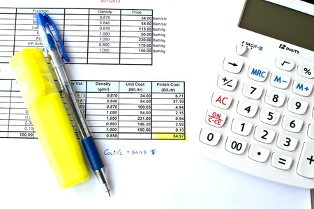 The calculator with cost document Stock Photo - 18558791