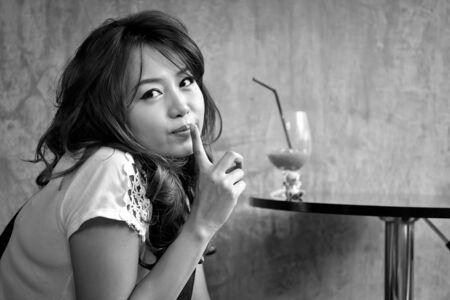 sweetie: Beautiful woman in the coffee shop Stock Photo