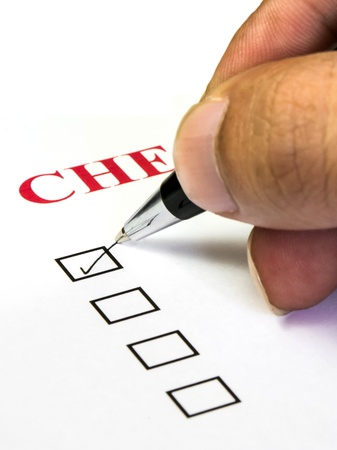 check list with a tick box