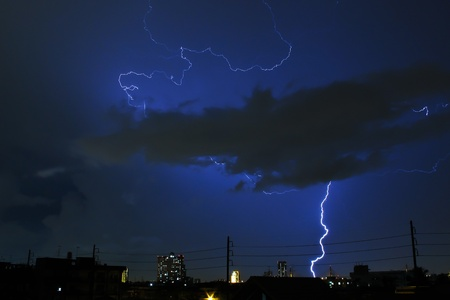 Thunder, lightning in the city photo