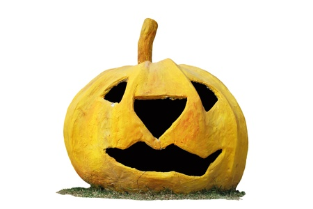 pumpkin o jack lantern head on white background photo