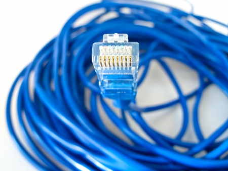 A shot of UTP network cable  Data Network Hardware Concept   Imagens