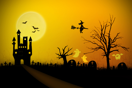 Halloween night background with creepy castle and ghost Stock Photo - 22918468