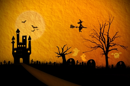 Halloween night background with creepy castle and ghost photo