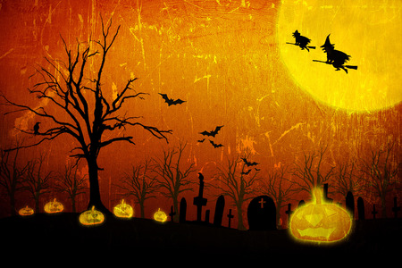 Halloween night with pumpkin O  Jack lantern in the cemetery photo