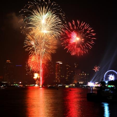 불꽃 놀이 새해 축하 용으로 도시에 표시