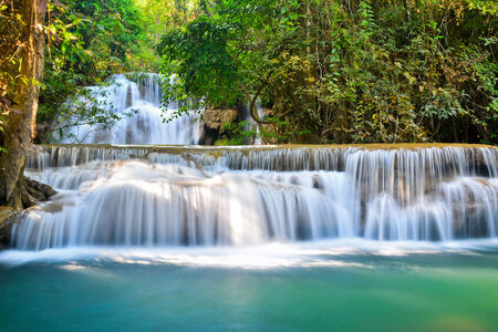 eep forest waterfall in Kanchanaburi, Thailand  photo
