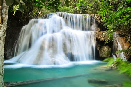 Huai Mae Kamin, the most beautiful waterfall in Kanchanaburi, Thailand photo