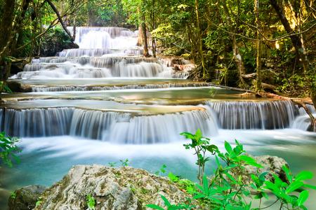 cataract waterfall: Huai Mae Kamin, the most beautiful waterfall in Kanchanaburi, Thailand
