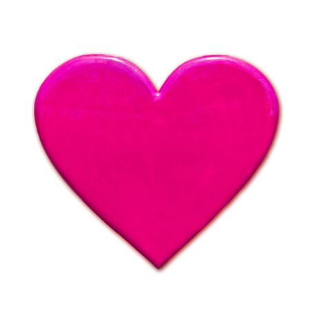 unusual valentine: Pink Heart Shape isolated on white Stock Photo