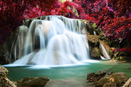 Beautiful waterfall in deep forest photo